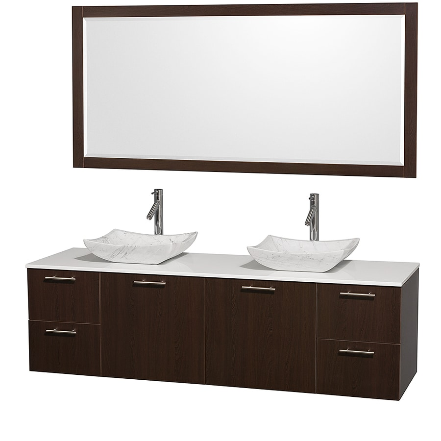 Wyndham Collection Amare Espresso 72-in Vessel Double Sink Bathroom Vanity with Engineered Stone Top (Mirror Included)