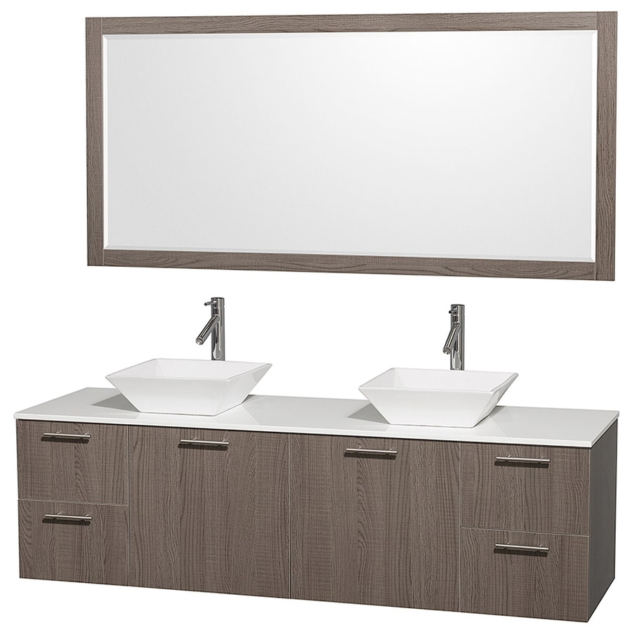Wyndham Collection Amare Gray Oak Double Vessel Sink Bathroom Vanity with Engineered Stone Top (Common: 72-in x 23-in; Actual: 72-in x 22.25-in)