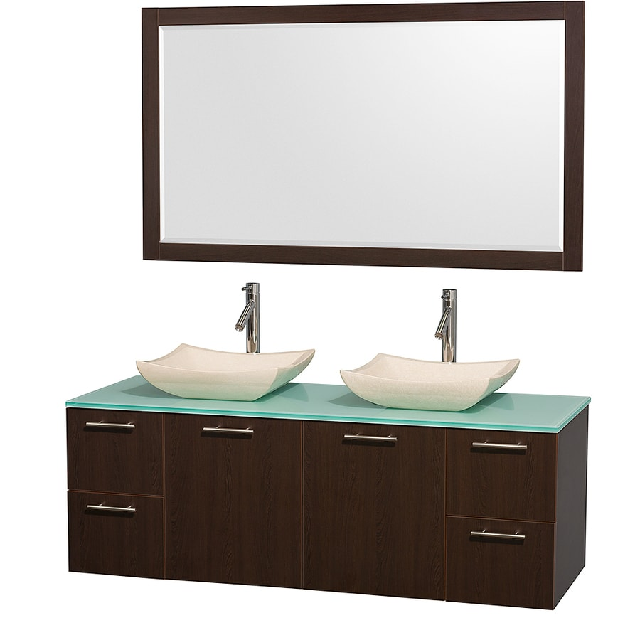 Wyndham Collection Amare Espresso (Common: 60-in x 22-in) Vessel Double Sink Bathroom Vanity with Tempered Glass and Glass Top (Mirror Included) (Actual: 60-in x 22.25-in)