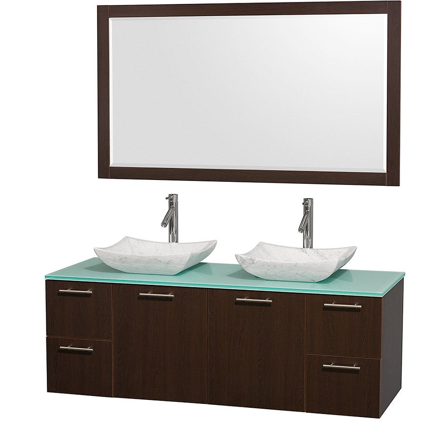 Wyndham Collection Amare Espresso 60-in Vessel Double Sink Bathroom Vanity with Tempered Glass and Glass Top (Mirror Included)