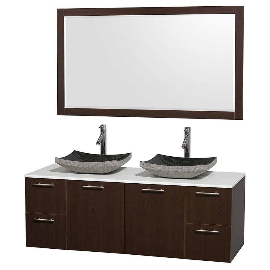 Wyndham Collection Amare Espresso 60-in Vessel Double Sink Bathroom Vanity with Engineered Stone Top (Mirror Included)