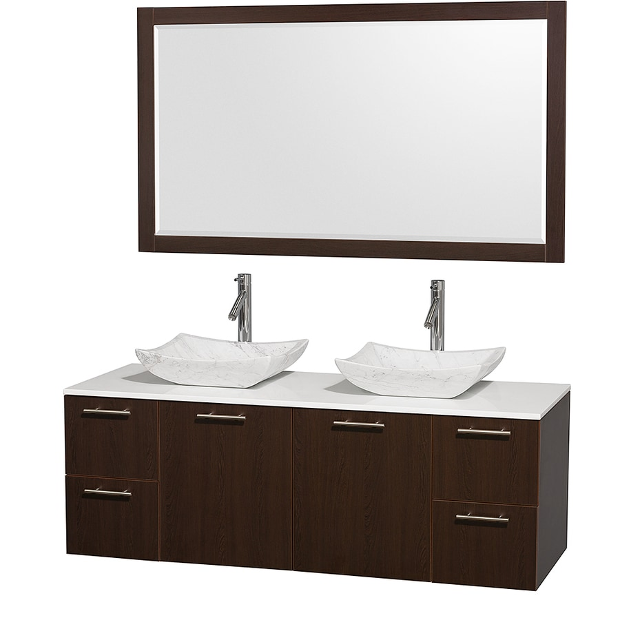 Wyndham Collection Amare Espresso (Common: 60-in x 22-in) Vessel Double Sink Bathroom Vanity with Engineered Stone Top (Mirror Included) (Actual: 60-in x 22.25-in)