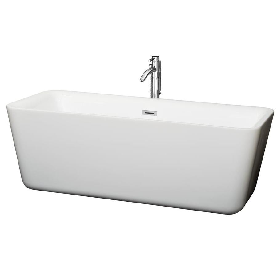 Wyndham Collection Emily 68.875-in White Acrylic Freestanding Bathtub with Center Drain