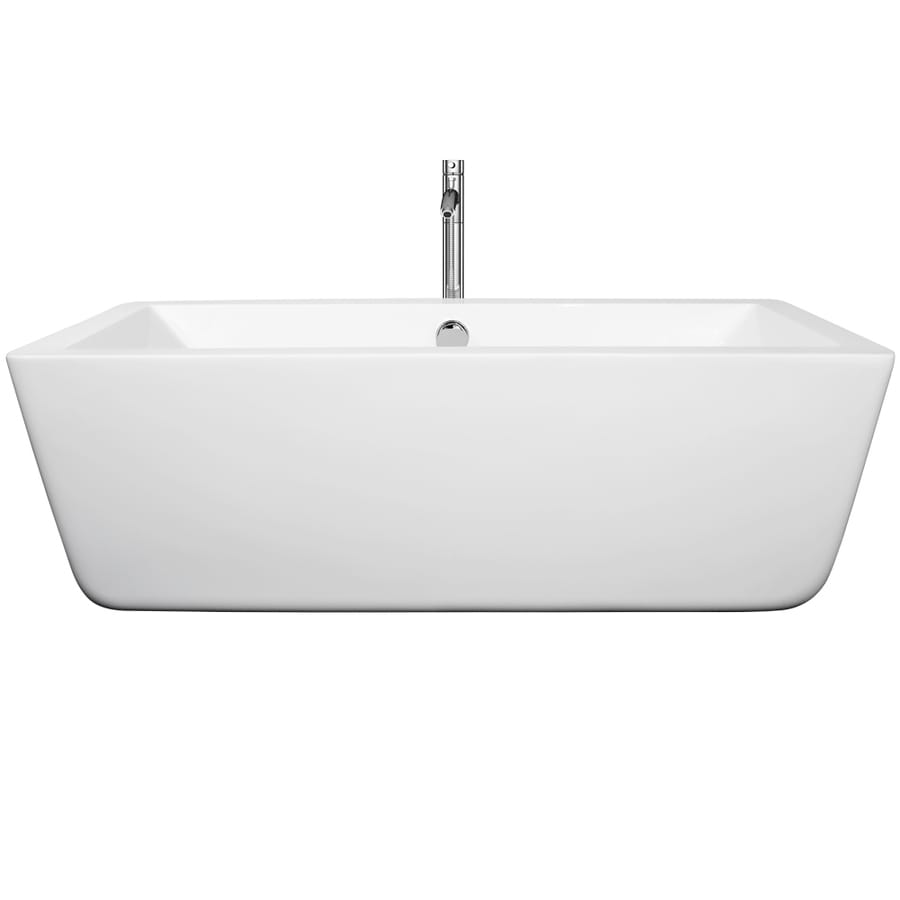 Wyndham Collection Laura 66.5-in White Acrylic Freestanding Bathtub with Center Drain