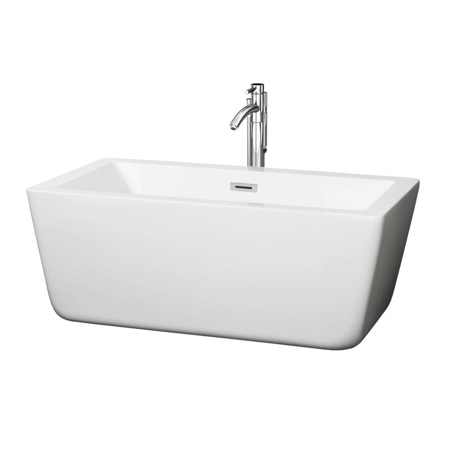 Wyndham Collection Laura 58.75-in White Acrylic Freestanding Bathtub with Center Drain
