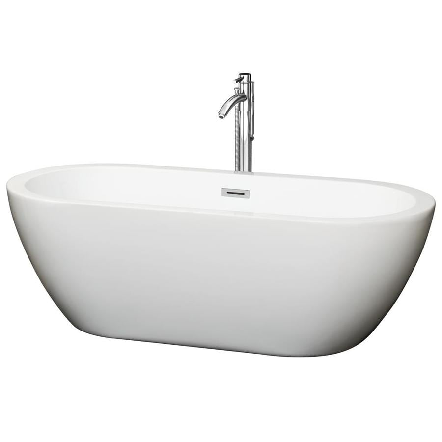 Wyndham Collection Soho 68-in White Acrylic Freestanding Bathtub with Center Drain