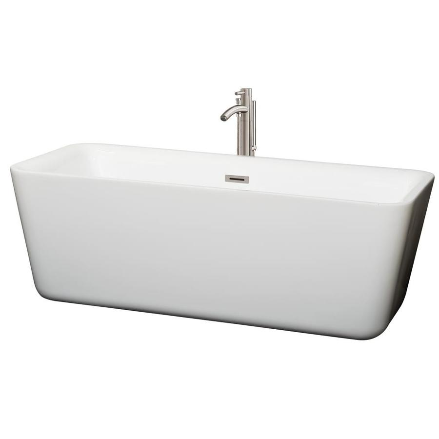 Wyndham Collection Emily White Acrylic Rectangular Freestanding Bathtub with Center Drain (Common: 31-in x 69-in; Actual: 23.625-in x 30.375-in x 68.875-in)