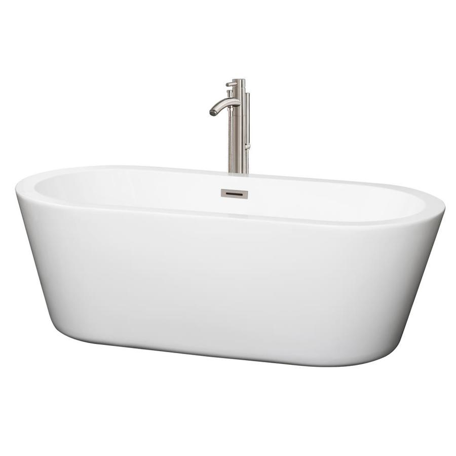 Wyndham Collection Mermaid 67-in White Acrylic Freestanding Bathtub with Center Drain
