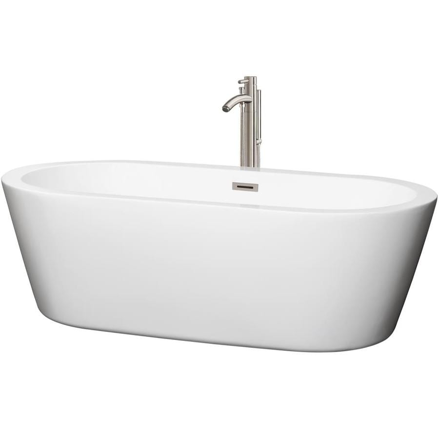 Wyndham Collection Mermaid 71-in White Acrylic Freestanding Bathtub with Center Drain
