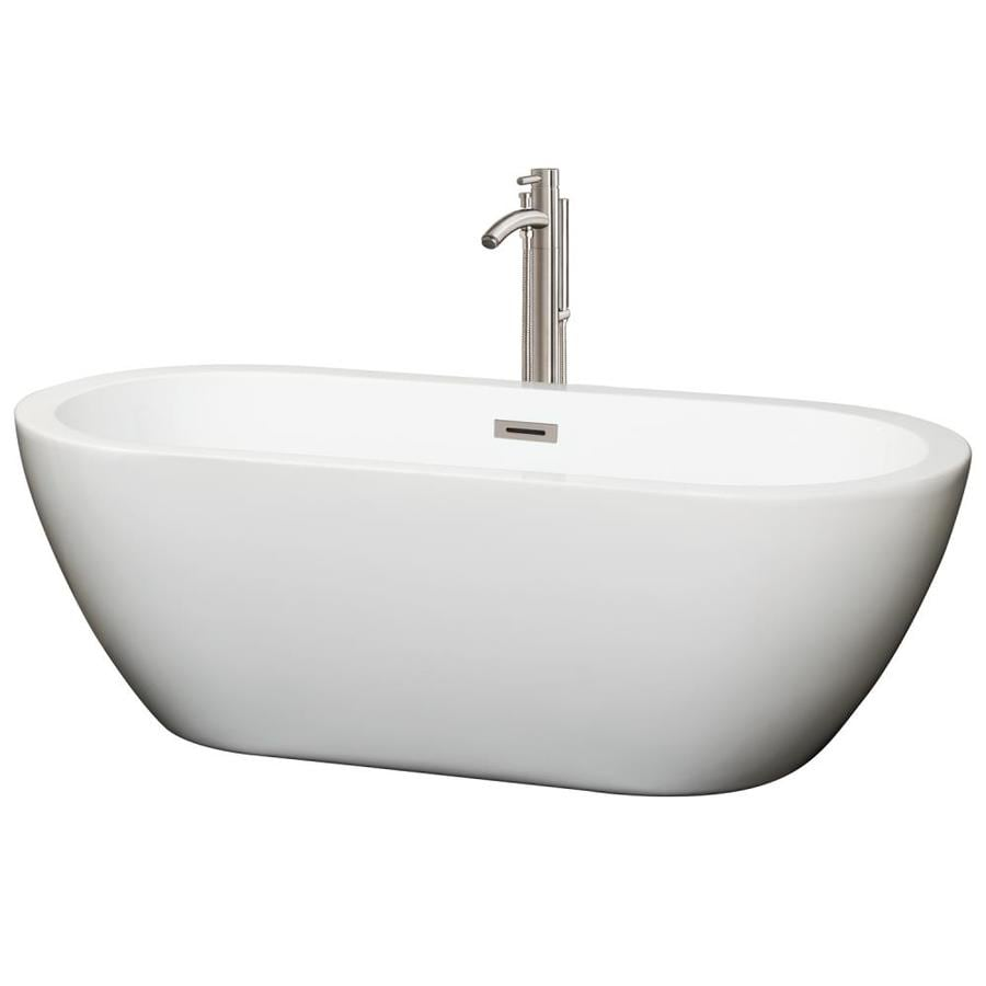 Shop wyndham collection soho white acrylic oval for Oval garden tub