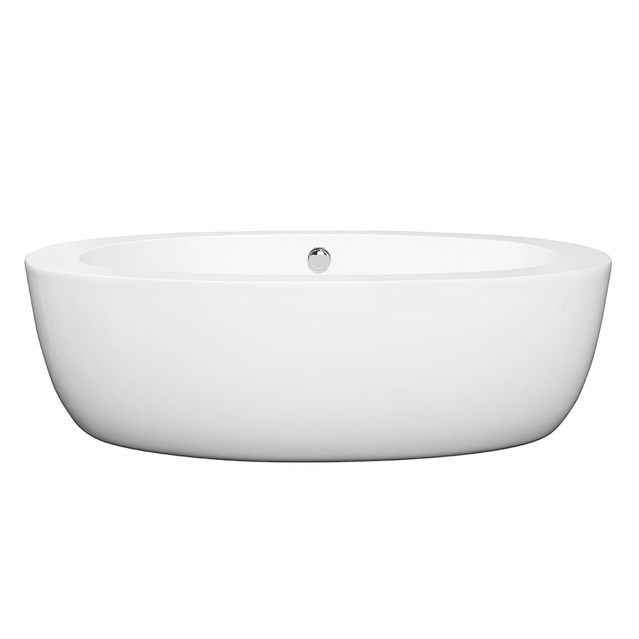 Wyndham Collection Uva White Acrylic Oval Freestanding Bathtub with Center Drain (Common: 33-in x 69-in; Actual: 22-in x 33-in x 69-in)