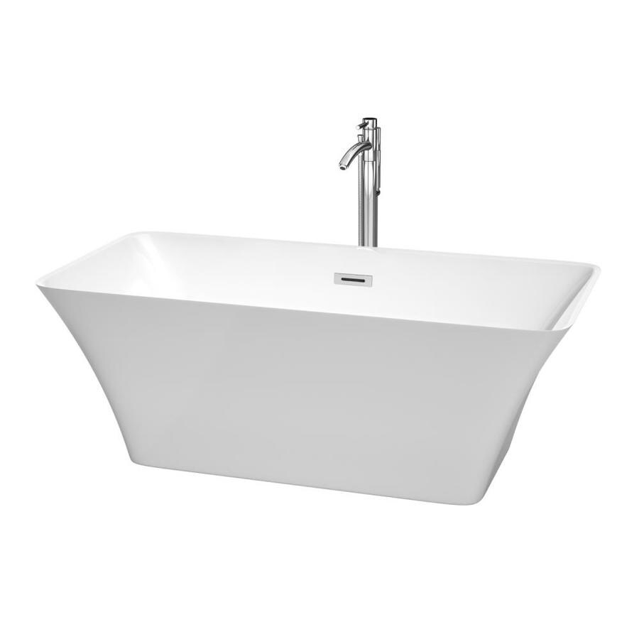 Wyndham Collection Tiffany 59-in White Acrylic Freestanding Bathtub with Center Drain
