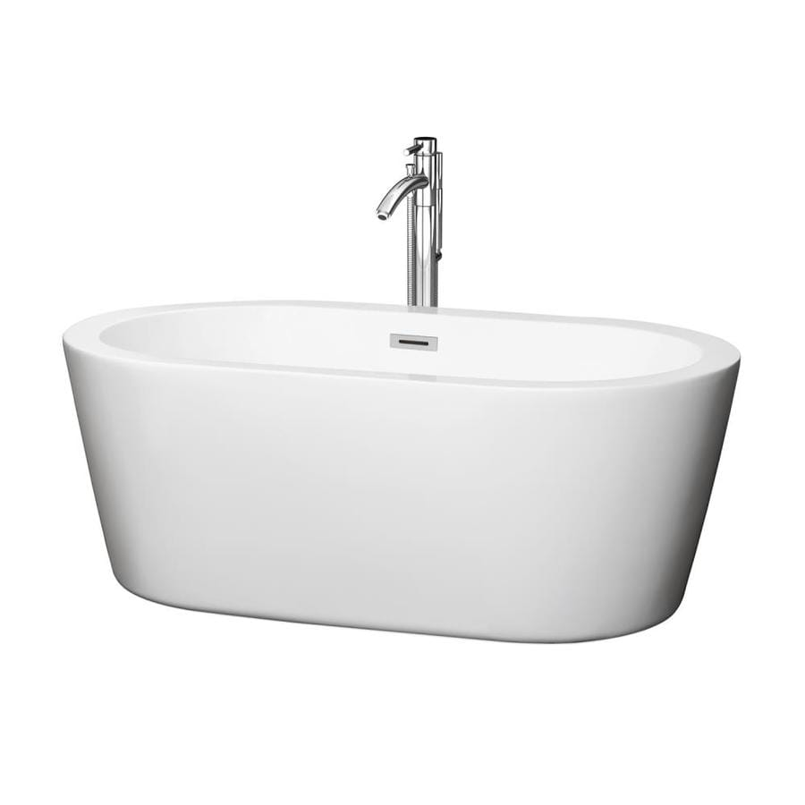 Wyndham Collection Mermaid 60-in White Acrylic Freestanding Bathtub with Center Drain