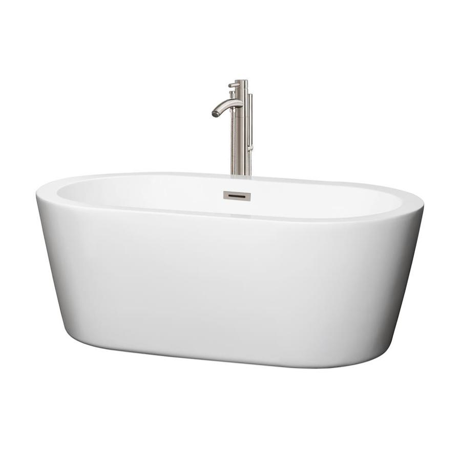 Wyndham Collection Mermaid White Acrylic Oval Freestanding Bathtub with Center Drain (Common: 30-in x 60-in; Actual: 23-in x 29.25-in x 60-in)