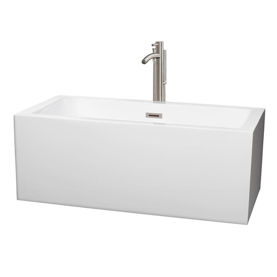 Wyndham Collection Melody White Acrylic Rectangular Freestanding Bathtub with Center Drain (Common: 30-in x 60-in; Actual: 22.5-in x 29.5-in x 59.5-in)
