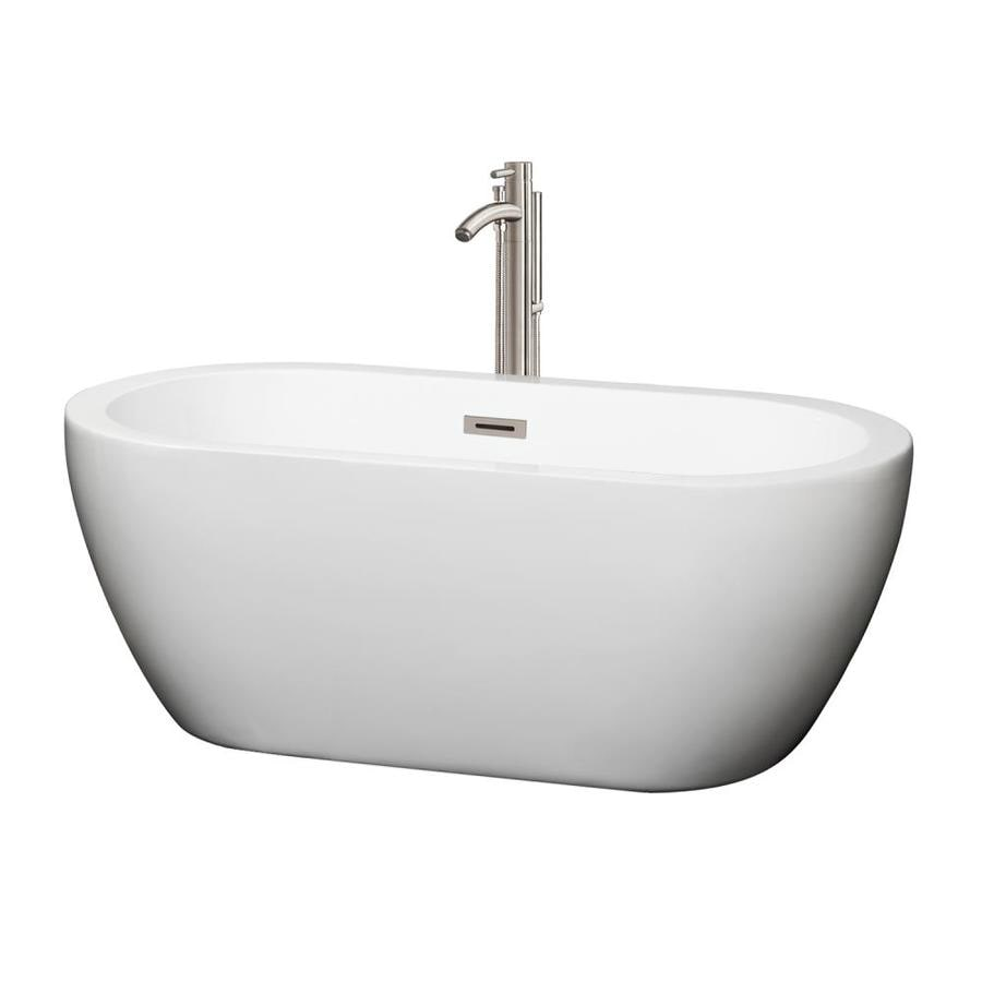 Wyndham Collection Soho 59.75-in White Acrylic Freestanding Bathtub with Center Drain