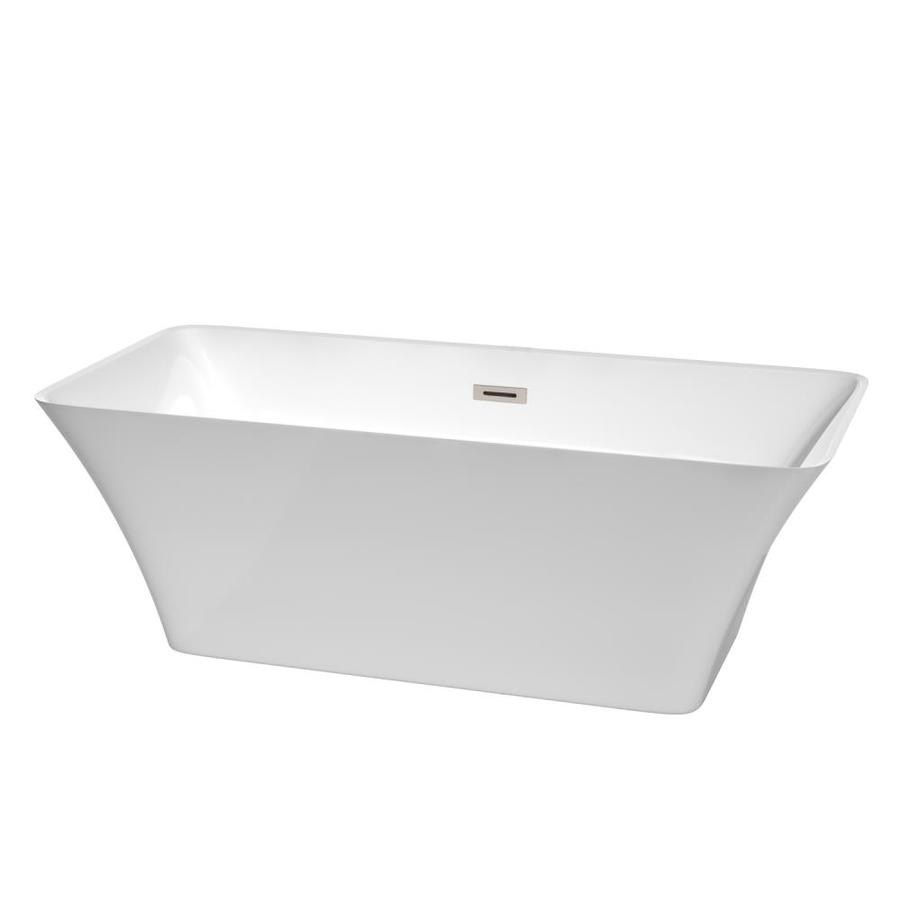 Wyndham Collection Tiffany 67-in White Acrylic Freestanding Bathtub with Center Drain