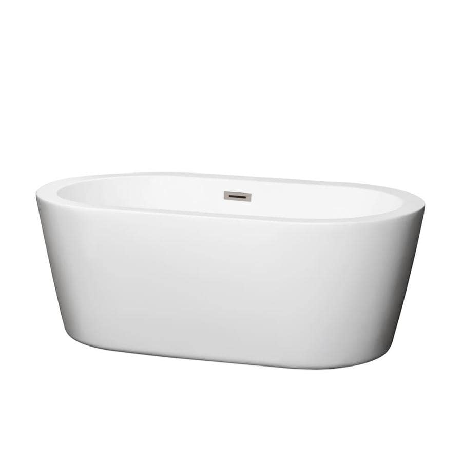 Shop Wyndham Collection Mermaid 60 In White Acrylic Freestanding Bathtub With