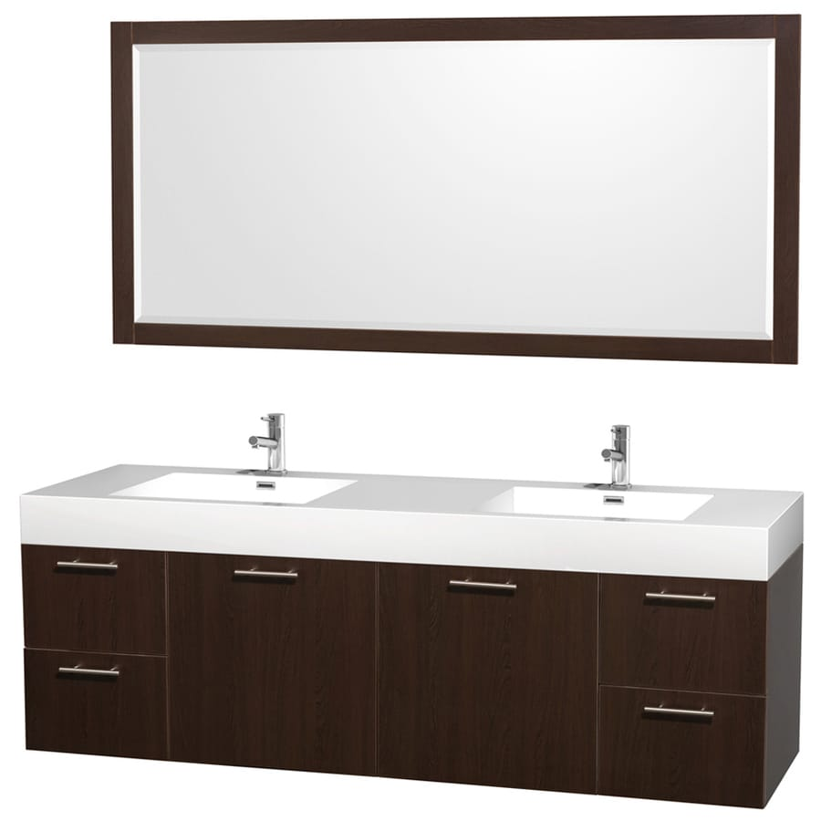 Solid Surface Bathroom Sink: Shop Wyndham Collection Amare Espresso Integral Double