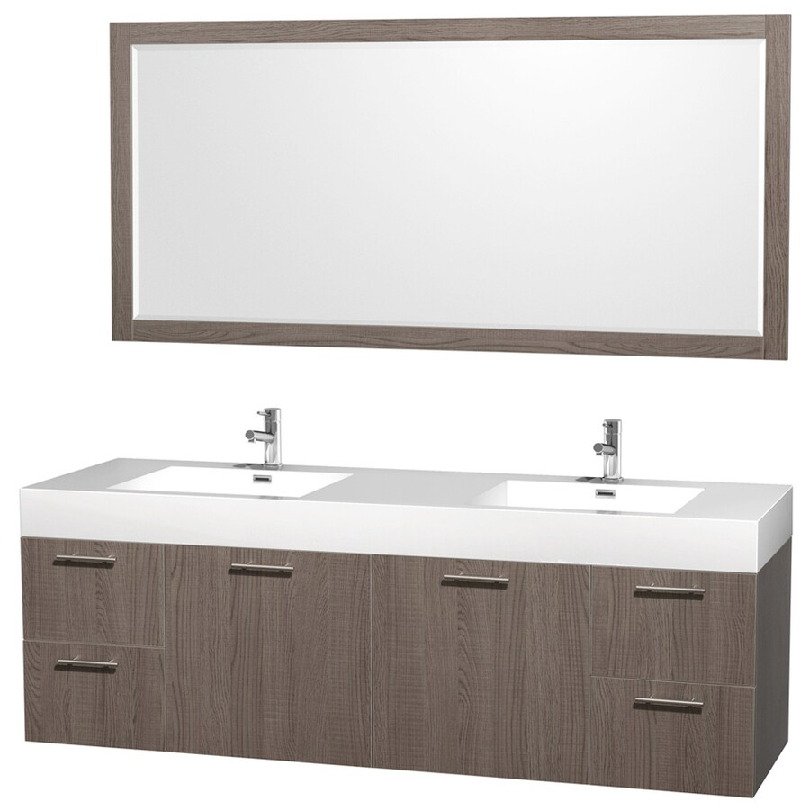 Wyndham Collection Amare Gray Oak 72-in Integral Double Sink Bathroom Vanity with Solid Surface Top (Mirror Included)