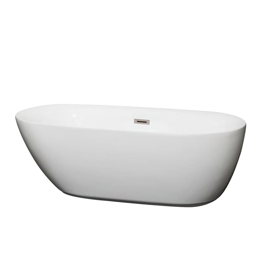 Wyndham Collection Melissa 65-in White Acrylic Freestanding Bathtub with Center Drain