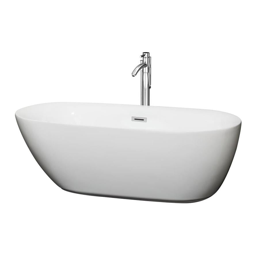 Shop Wyndham Collection Melissa 65 In White Acrylic Freestanding Bathtub With