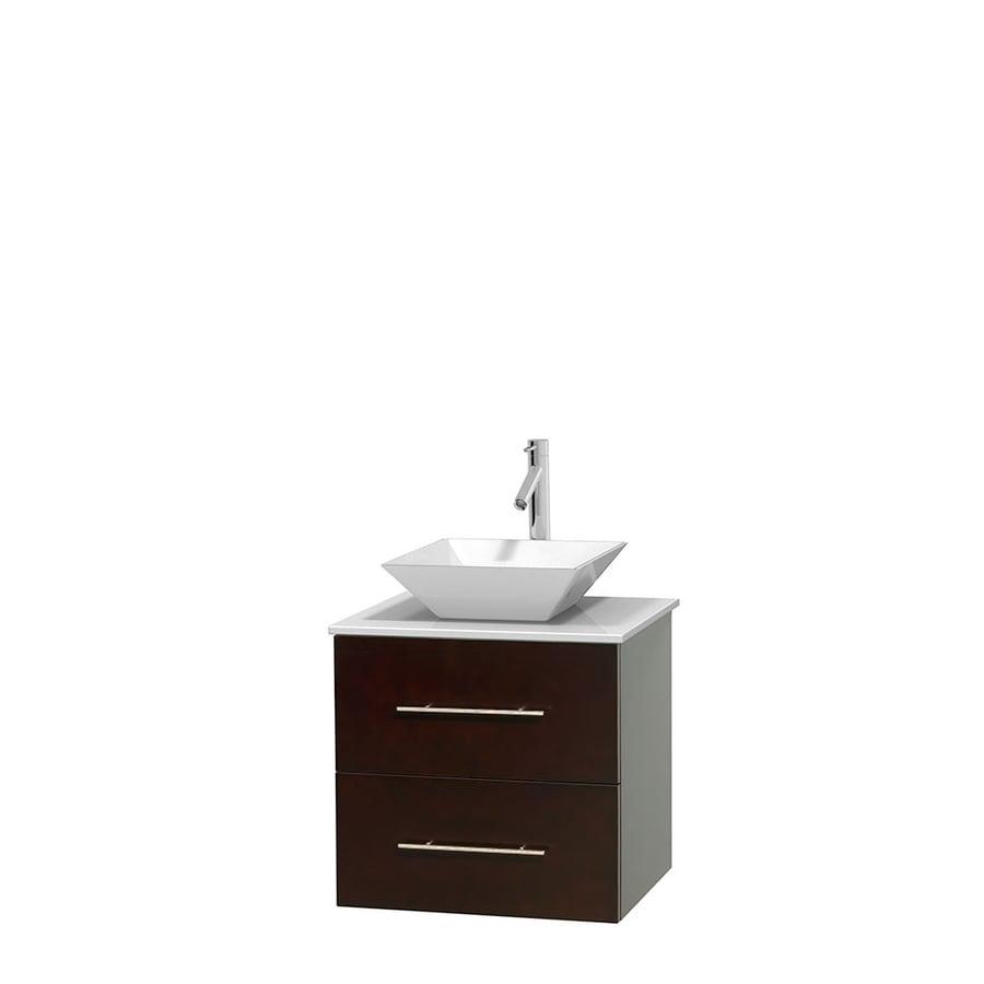 Wyndham Collection Centra Espresso 24-in Vessel Single Sink Oak Bathroom Vanity with Engineered Stone Top