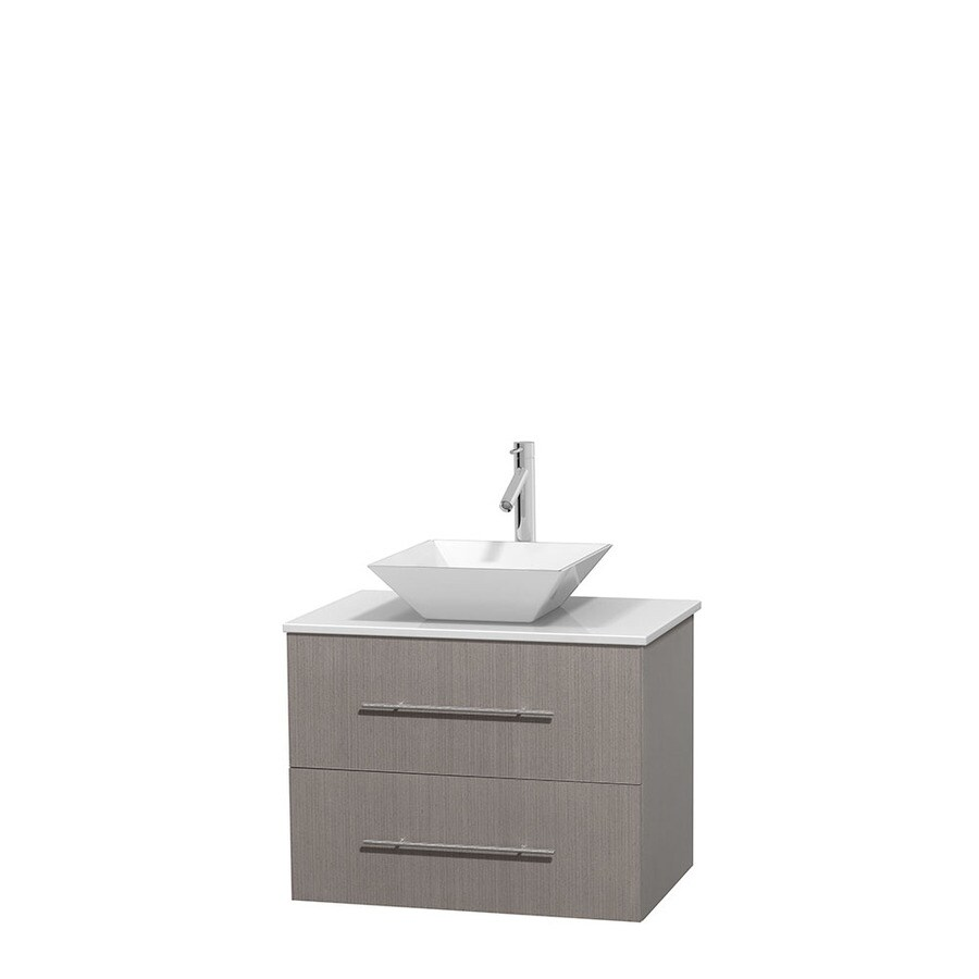 Wyndham Collection Centra Gray Oak Single Vessel Sink Bathroom Vanity with Engineered Stone Top (Common: 30-in x 20.5-in; Actual: 30-in x 20.5-in)
