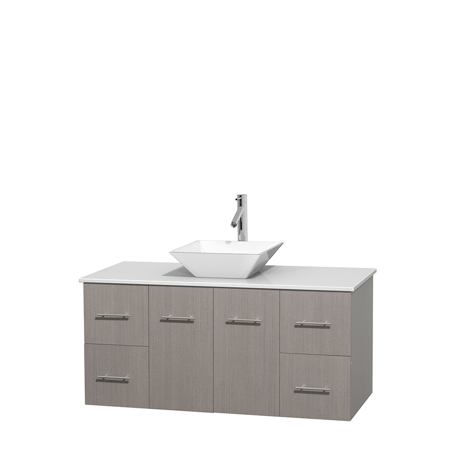 Wyndham Collection Centra Gray Oak 48-in Vessel Single Sink Oak Bathroom Vanity with Engineered Stone Top