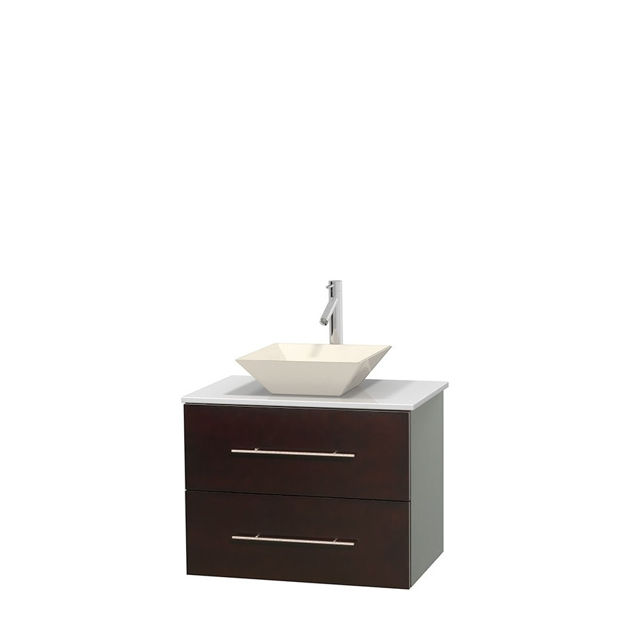 Wyndham Collection Centra Espresso Single Vessel Sink Bathroom Vanity with Engineered Stone Top (Common: 30-in x 20.5-in; Actual: 30-in x 20.5-in)