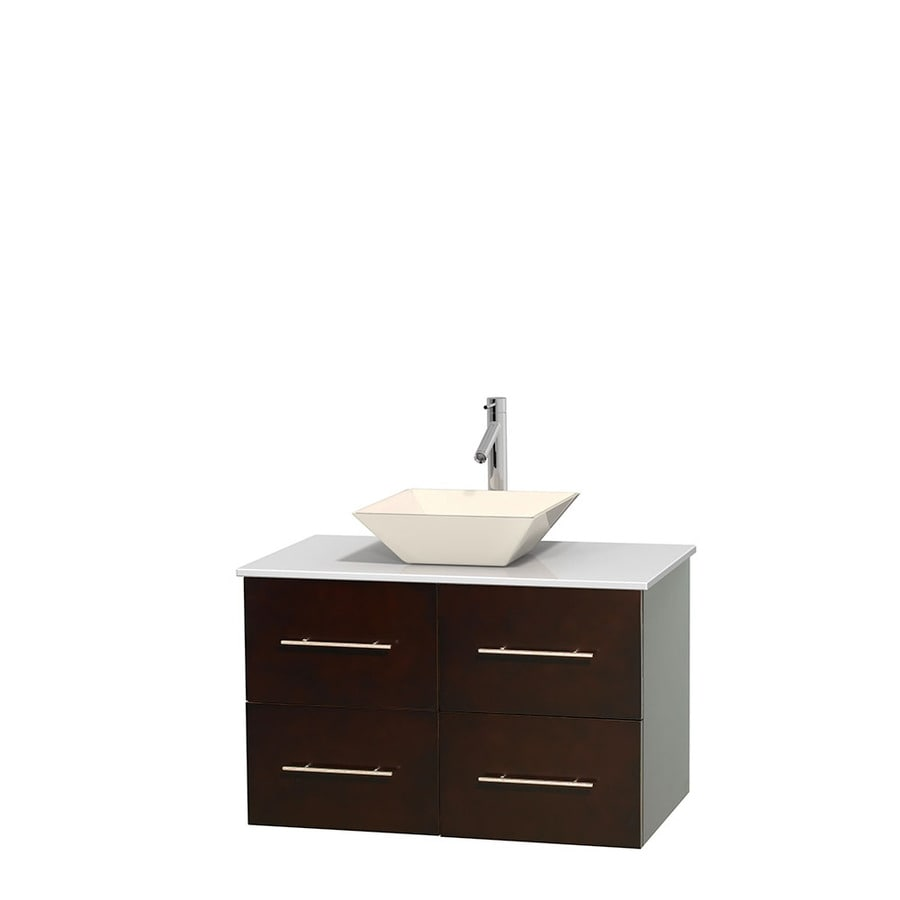Wyndham Collection Centra Espresso Single Vessel Sink Bathroom Vanity with Engineered Stone Top (Common: 36-in x 21.5-in; Actual: 36-in x 21.5-in)