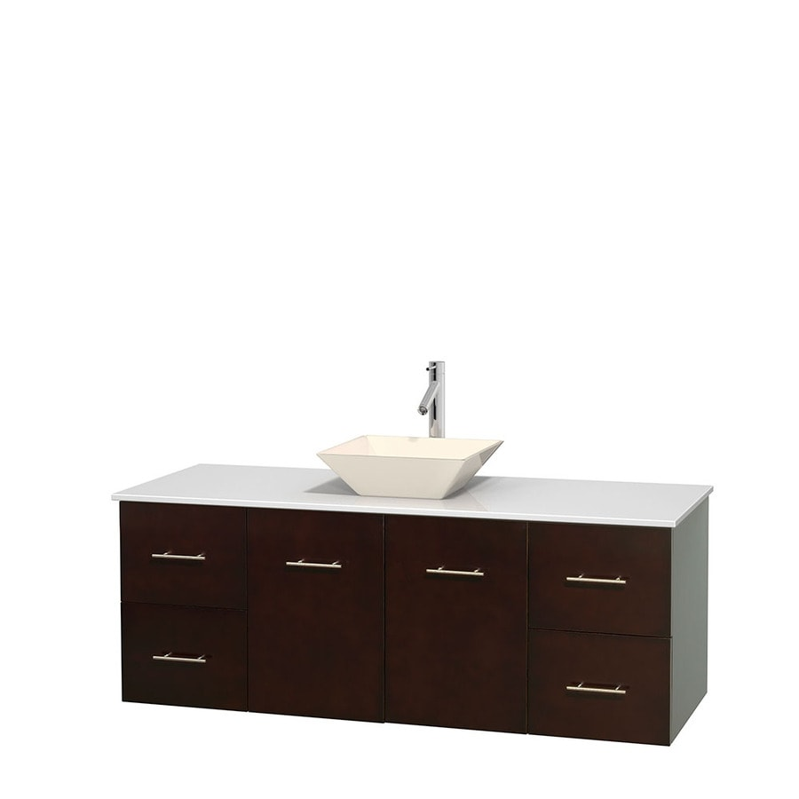 Wyndham Collection Centra Espresso Single Vessel Sink Bathroom Vanity with Engineered Stone Top (Common: 60-in x 22.5-in; Actual: 60-in x 22.25-in)