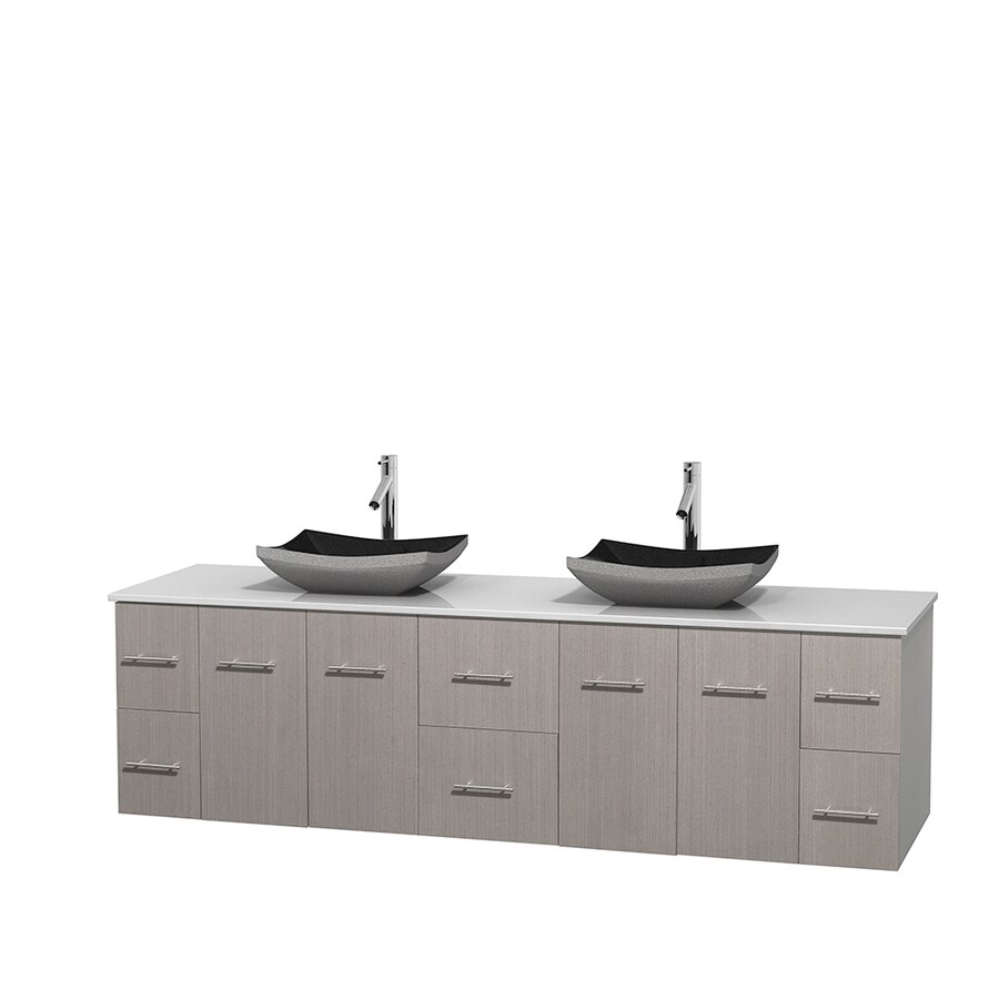 Wyndham Collection Centra Gray Oak Double Vessel Sink Bathroom Vanity with Engineered Stone Top (Common: 80-in x 22.5-in; Actual: 80-in x 22.25-in)
