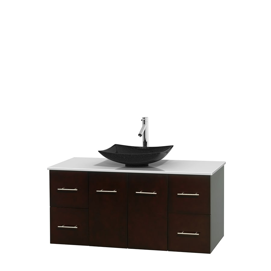 Wyndham Collection Centra Espresso Single Vessel Sink Bathroom Vanity with Engineered Stone Top (Common: 48-in x 21.5-in; Actual: 48-in x 21.5-in)