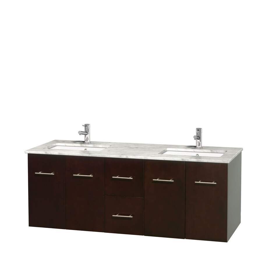 Wyndham Collection Centra Espresso Undermount Double Sink Bathroom Vanity with Natural Marble Top (Common: 60-in x 22.5-in; Actual: 60-in x 22.25-in)