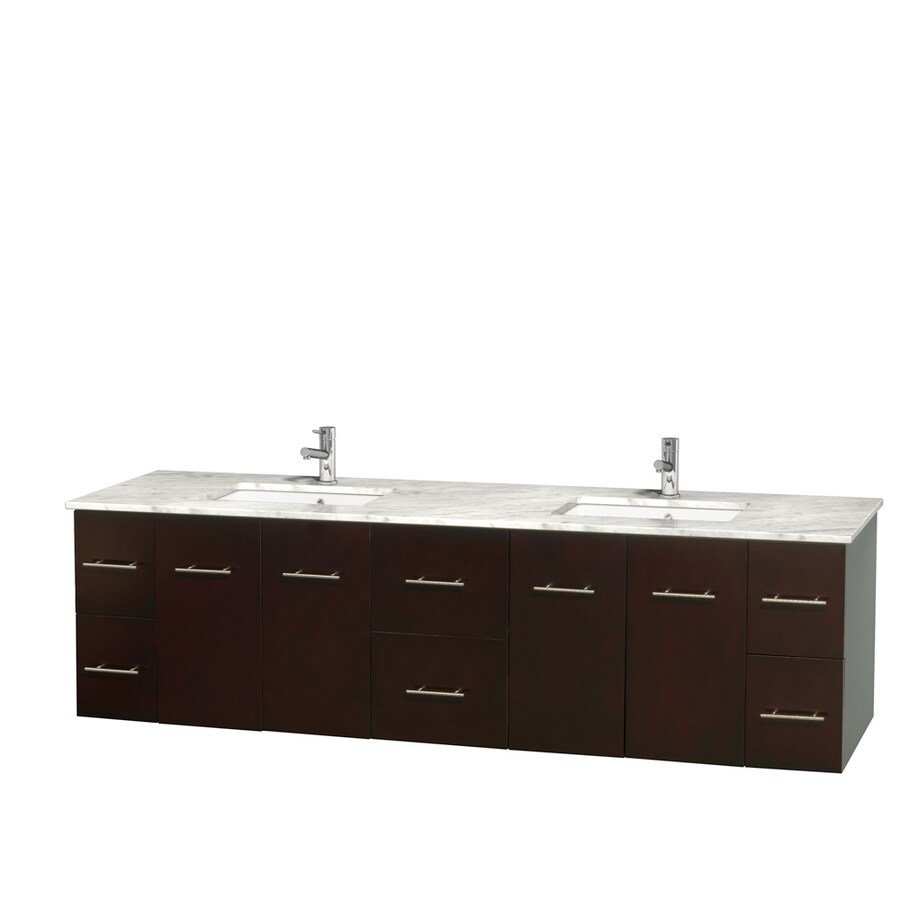 Wyndham Collection Centra Espresso Undermount Double Sink Bathroom Vanity with Natural Marble Top (Common: 80-in x 22.5-in; Actual: 80-in x 22.25-in)