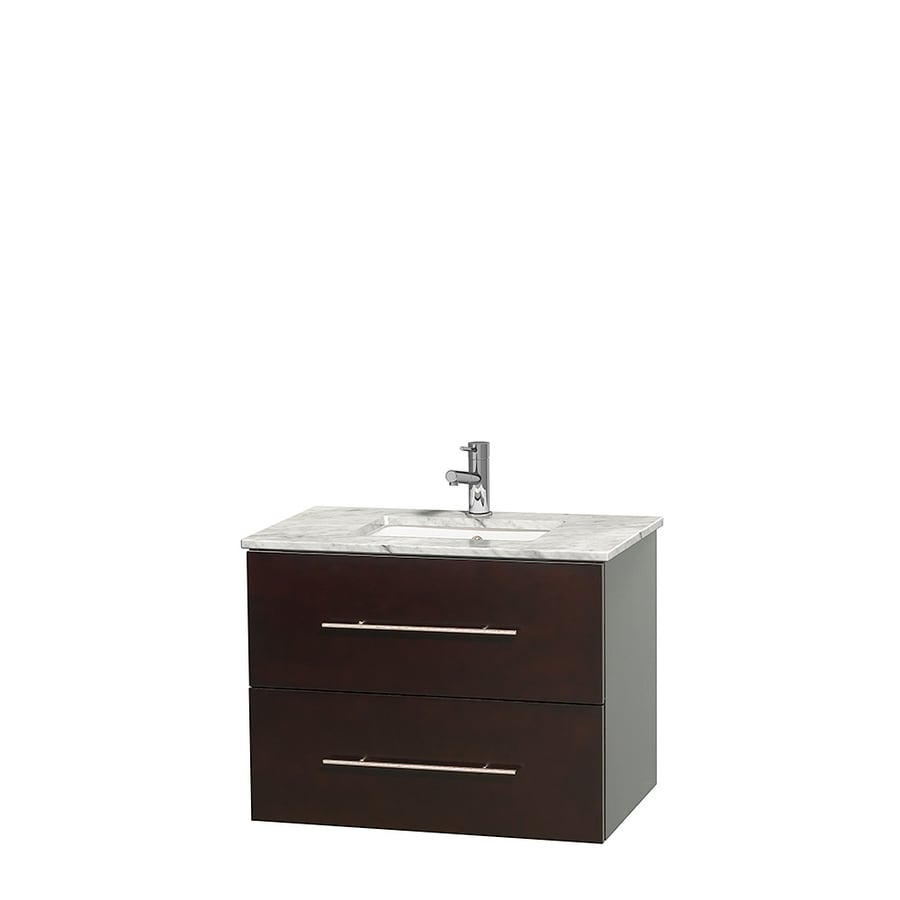 Wyndham Collection Centra Espresso Undermount Single Sink Bathroom Vanity with Natural Marble Top (Common: 30-in x 20.5-in; Actual: 30-in x 20.5-in)