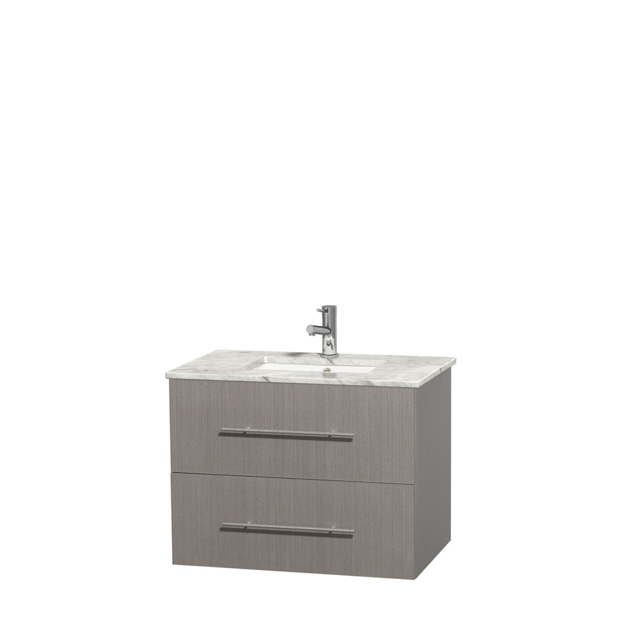 Wyndham Collection Centra Gray Oak Undermount Single Sink Bathroom Vanity with Natural Marble Top (Common: 30-in x 20.5-in; Actual: 30-in x 20.5-in)