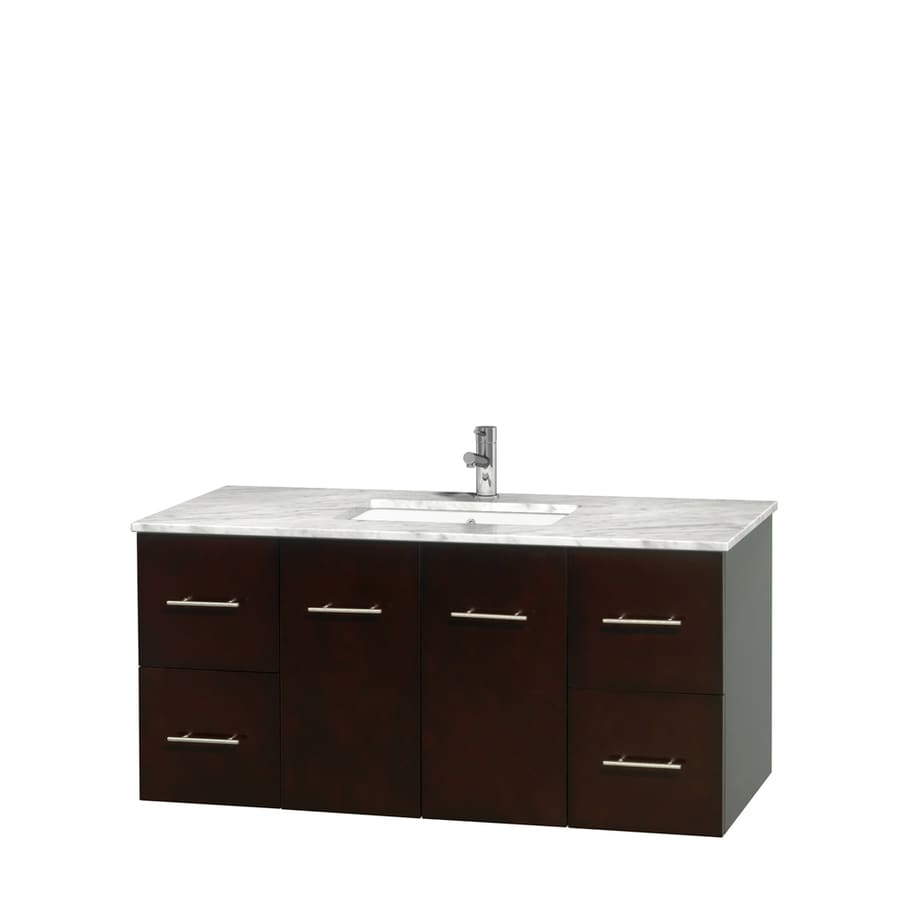 Wyndham Collection Centra Espresso Undermount Single Sink Bathroom Vanity with Natural Marble Top (Common: 48-in x 21.5-in; Actual: 48-in x 21.5-in)