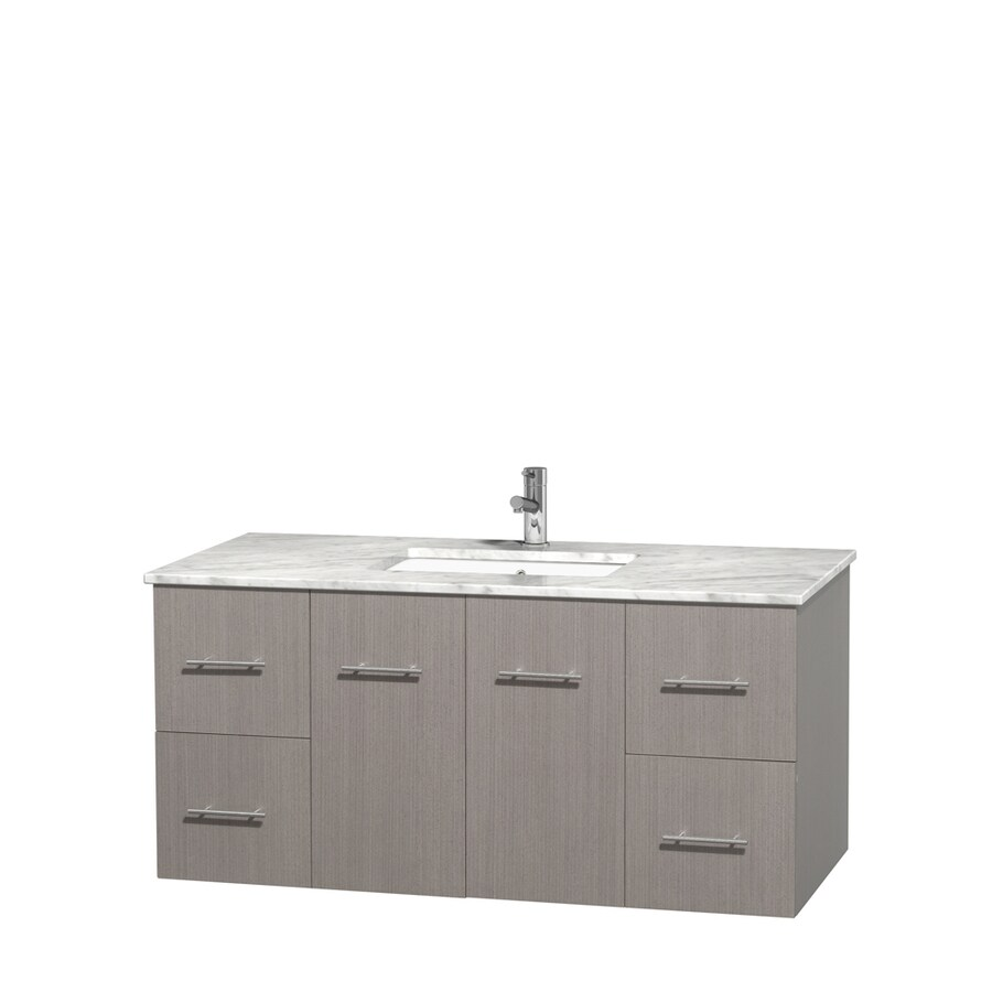 Wyndham Collection Centra Gray Oak Undermount Single Sink Bathroom Vanity with Natural Marble Top (Common: 48-in x 21.5-in; Actual: 48-in x 21.5-in)