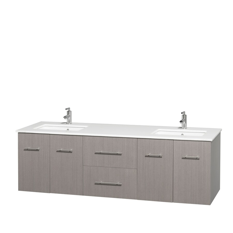 Wyndham Collection Centra Gray Oak Undermount Double Sink Bathroom Vanity with Engineered Stone Top (Common: 72-in x 22.5-in; Actual: 72-in x 22.25-in)