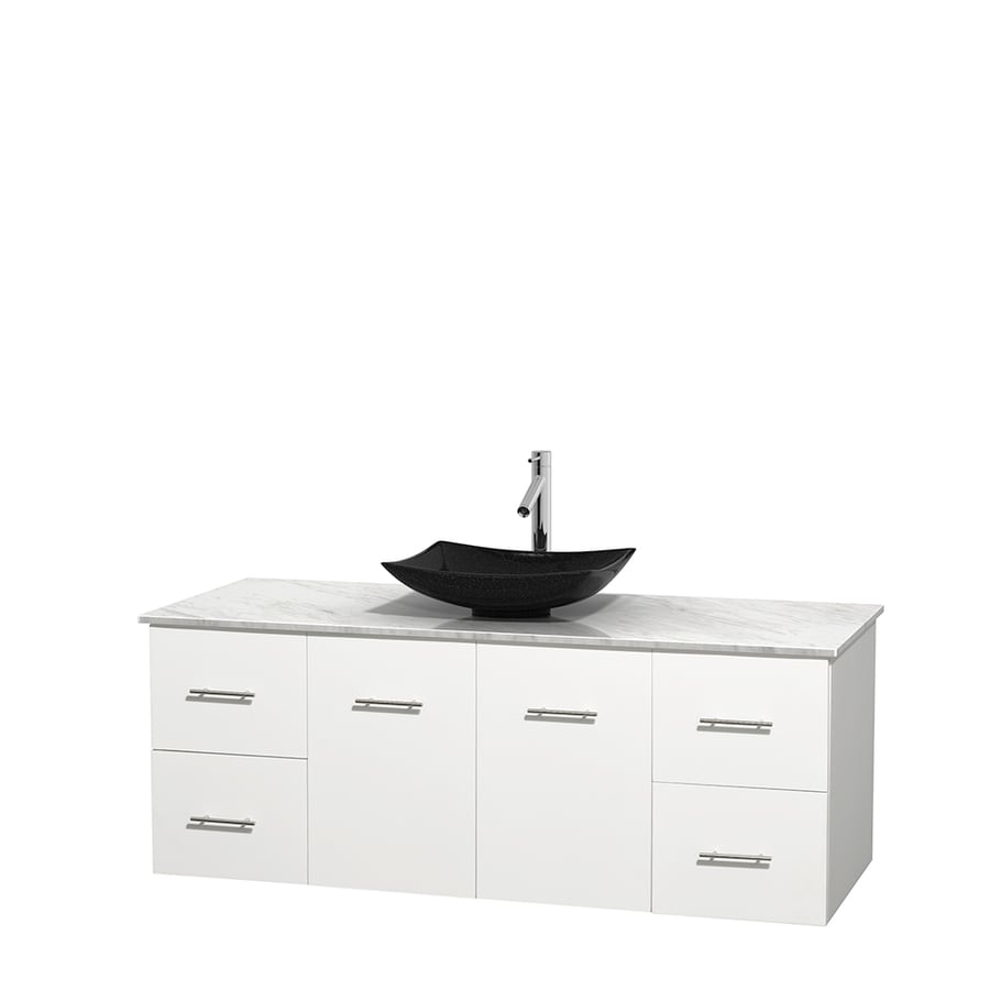 Wyndham Collection Centra White 60-in Vessel Single Sink Oak Bathroom Vanity with Natural Marble Top