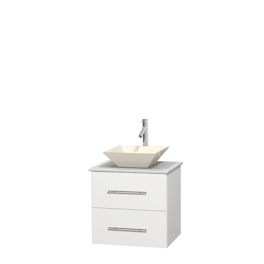 Wyndham Collection Centra White 24-in Vessel Single Sink Oak Bathroom Vanity with Engineered Stone Top
