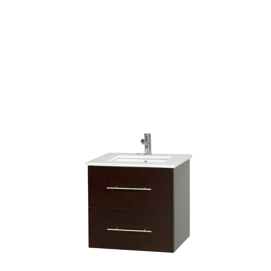 Wyndham Collection Centra Espresso Undermount Single Sink Bathroom Vanity with Engineered Stone Top (Common: 24-in x 19-in; Actual: 24-in x 19-in)
