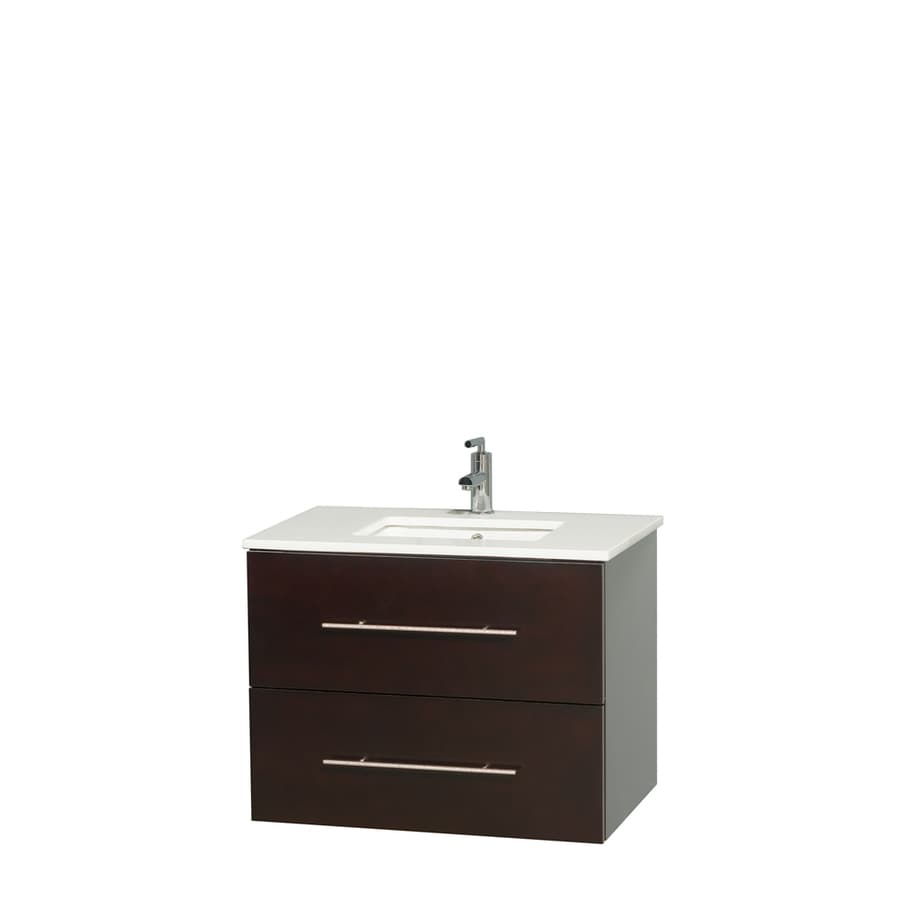 Wyndham Collection Centra Espresso Undermount Single Sink Bathroom Vanity with Engineered Stone Top (Common: 30-in x 20.5-in; Actual: 30-in x 20.5-in)
