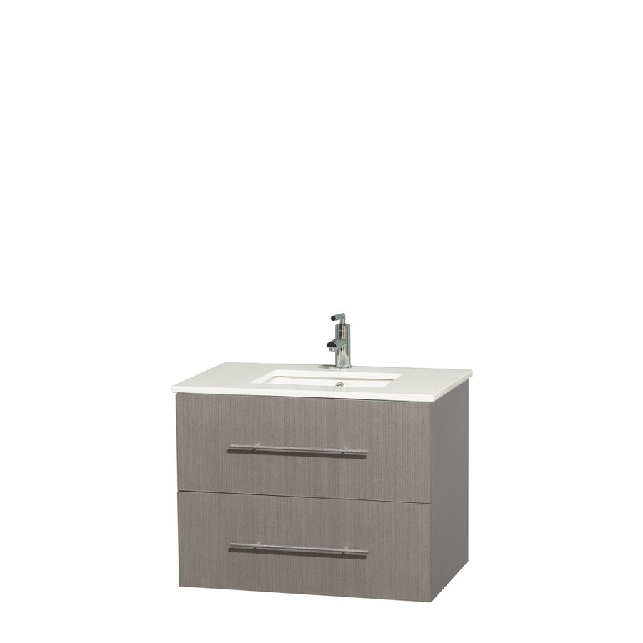 Wyndham Collection Centra Gray Oak Undermount Single Sink Bathroom Vanity with Engineered Stone Top (Common: 30-in x 20.5-in; Actual: 30-in x 20.5-in)