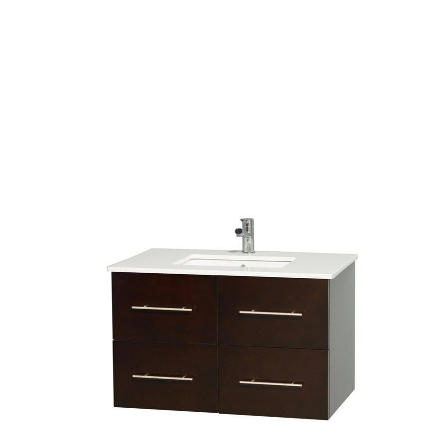 Wyndham Collection Centra Espresso Undermount Single Sink Bathroom Vanity with Engineered Stone Top (Common: 36-in x 21.5-in; Actual: 36-in x 21.5-in)