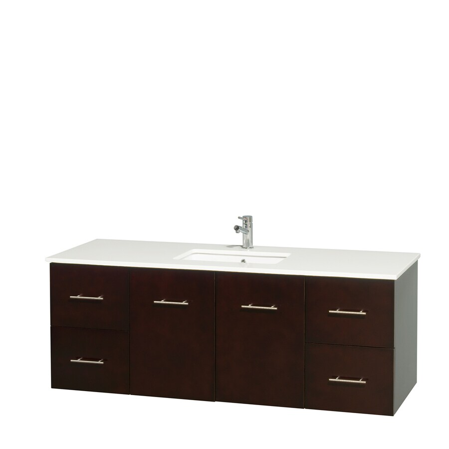 Wyndham Collection Centra Espresso Undermount Single Sink Bathroom Vanity with Engineered Stone Top (Common: 60-in x 22.5-in; Actual: 60-in x 22.25-in)