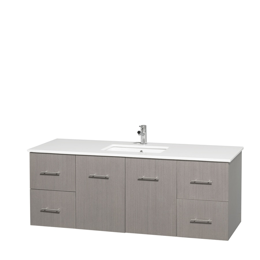 Wyndham Collection Centra Gray Oak Undermount Single Sink Bathroom Vanity with Engineered Stone Top (Common: 60-in x 22.5-in; Actual: 60-in x 22.25-in)