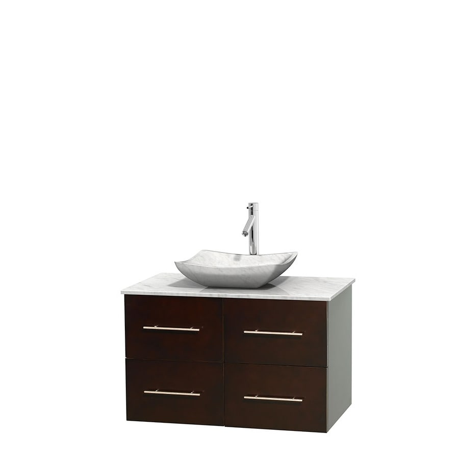 Wyndham Collection Centra Espresso Single Vessel Sink Bathroom Vanity with Natural Marble Top (Common: 36-in x 21.5-in; Actual: 36-in x 21.5-in)